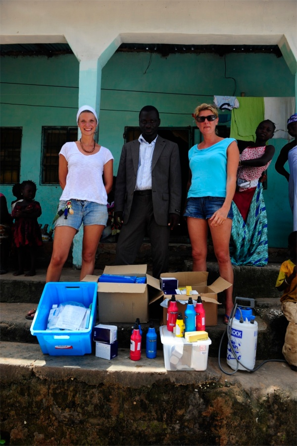 Delivering medical supplies we brought with us